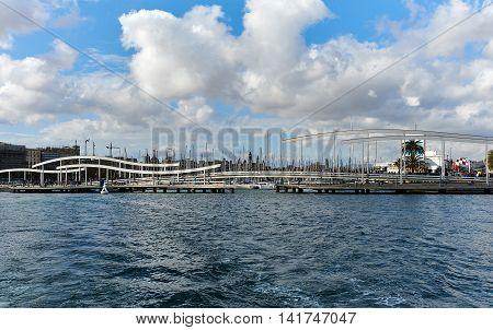 Swing bridge on the Rambla de Mar. The Ramla del Mar is a main tourist attraction in Barcelona. Spain