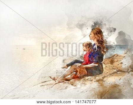 Digital watercolor painting of a mother and daughter sitting on a rock near the sea