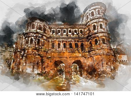 Digital watercolor painting of The Porta Nigra (Black Gate) in Trier city Germany. It is a famous large Roman city gate. Front view. UNESCO World Heritage Site