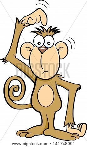 Cartoon illustration of a very confused monkey.