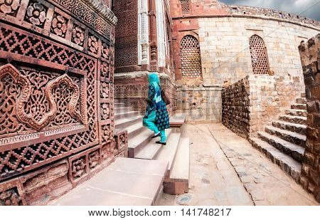 Indian Woman In Qutub Minar Complex
