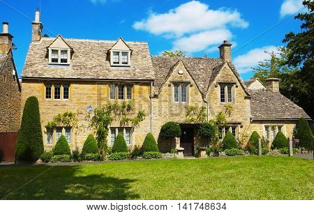 one of Cotswolds villages, lower slaughter in England