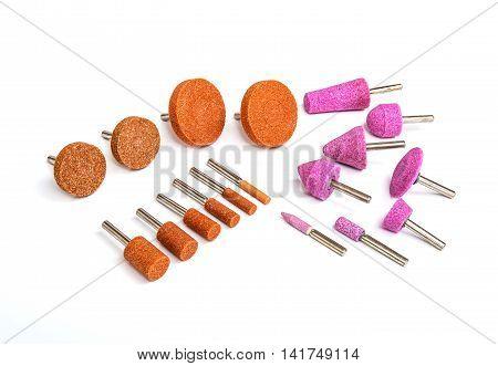 Grinding and polishing bits set on white background