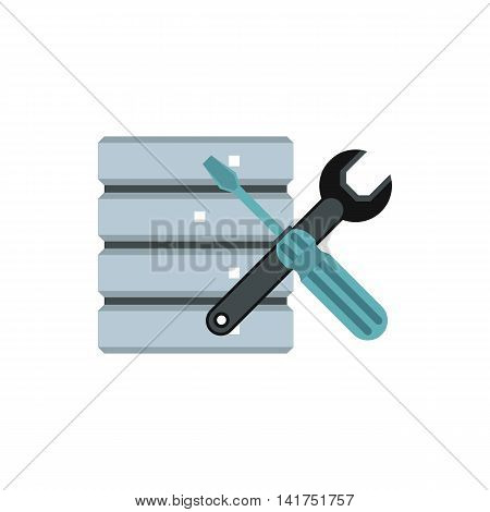Database with screwdriver and spanner icon in flat style on a white background