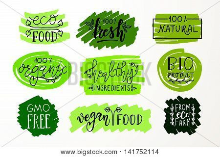 Hand Sketched Badges And Labels With Vegetarian, Vegan, Raw, Eco, Bio, Natural, Fresh, Gluten And Gm