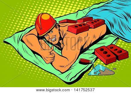 Spa Builder worker bricks, pop art retro vector illustration. A stern man resting