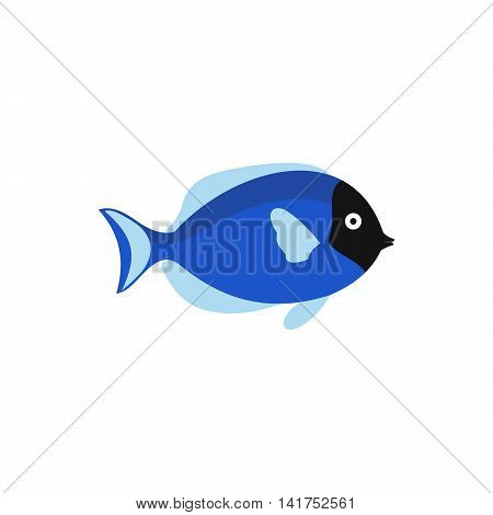 Blue fish icon in flat style on a white background