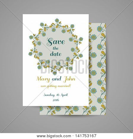Wedding invitation with hand drawn blue flowers on gray background. Vector illustration.