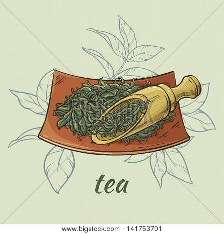 illustration wih dry tea and wooden scoop