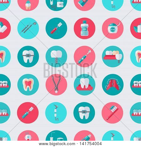 Seamless Dentist Equipment Pattern. Vector Illustration. Dental and Orthodontics Tools in Circles