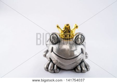 Valentine frog prince happy waiting for princess with golden crown.