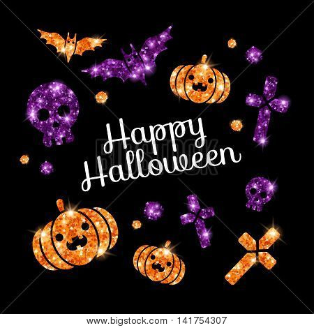 Happy Halloween Greeting Card with Holiday Symbols on Black Background. Violet Bats, Cross and Skull, Orange Pumpkin. Glittering Siny Texture. Vector illustration.