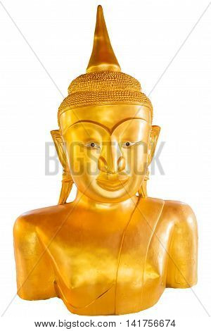 Strange Buddha statue isolated on white background. It is Buddha statue at Pratong temple or Phra-phud temple. it is a Buddha statue appearing up from the ground with half body