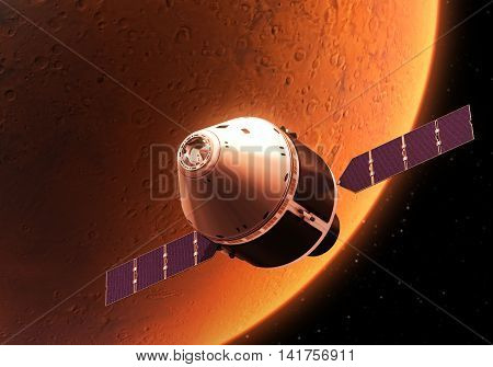 Spacecraft Orbiting Red Planet. Realistic 3D Illustration.