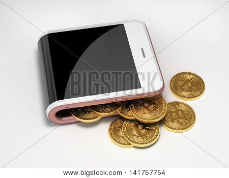 Concept Of Pink Digital Wallet And Bitcoins. 3D Illustration.