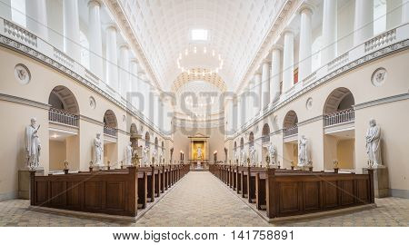 Copenhagen, Denmark - August 3, 2016: Interior view of Vor Frue Cathedral