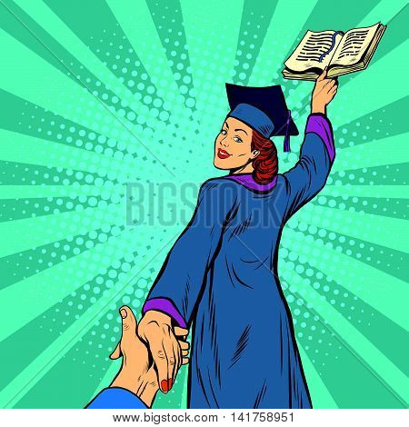 follow me, a woman student graduate knowledge education, pop art retro vector illustration