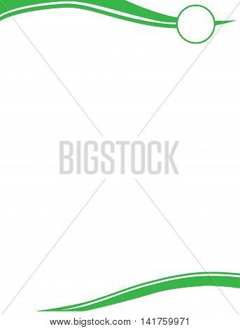 Green Wave Letterhead Template with Circle Logo