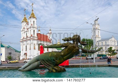 VITEBSK BELARUS - JULY 13 2016: Fragment of fountain