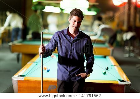 Man With Snooker Stick