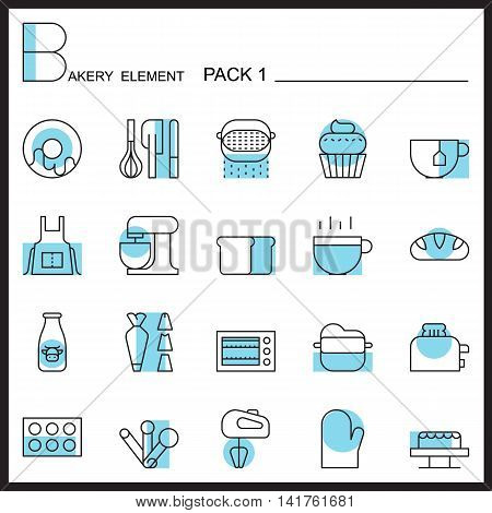Bakery line icons set.Color icons pack 1.Pictagram outline.