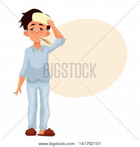Little boy having a cold with thermometer in his mouth, cartoon style vector illustration isolated on white background. Blond haired boy pressing compress to his forehead, winter flu season