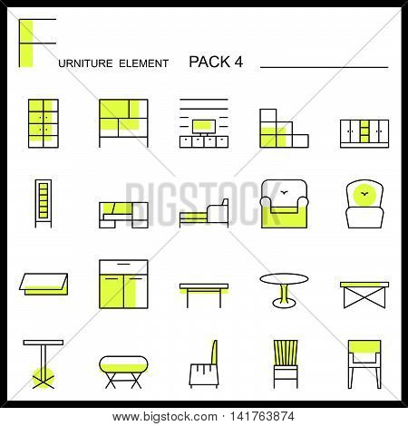 Furniture and home decorate line icons pack 4.Color outline icons.pictogram illustration.