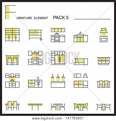 Furniture and home decorate line icons pack 5.Color outline icons.pictogram illustration.