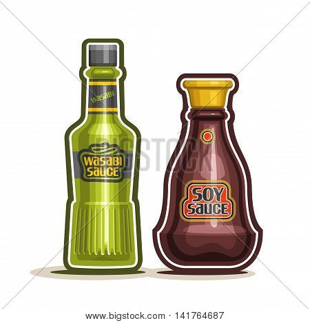 Vector logo Wasabi and Soy Sauce Bottle, green container with hot spice condiment wasabi paste, glass cartoon jar with salt brown oriental soy sauce, seasoning japanese cuisine on white background.