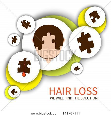 Top view of a man with hair puzzle pieces. Jigsaw puzzle hair loss infographic elements. Solving hair loss problem concept. Perfect design for hair clinics or diagnostic centres.