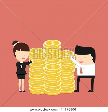 Business people hugging coins. The concept of desire for big profits. Vector illustration.