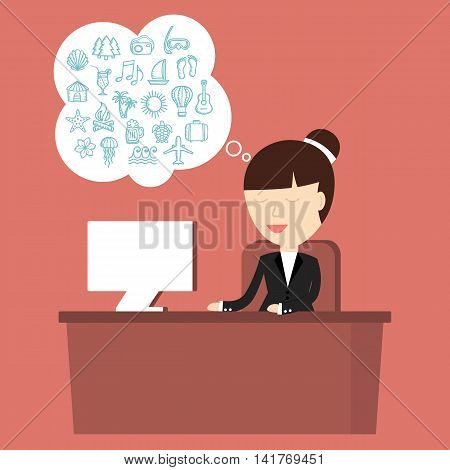 Business situation. Business woman sitting at a desk and dreaming of vacation. Vector illustration.