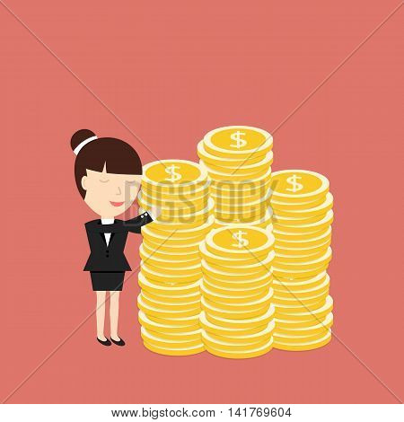 Businesswoman hugging coins. The concept of desire for big profits. Vector illustration.