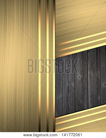 Abstract Gold Background With A Wooden Insert. Template For Design. Copy Space For Ad Brochure Or An