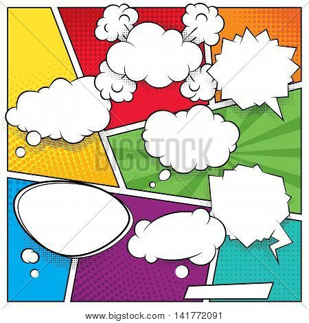 Comic speech bubbles and colored halftone backgrounds