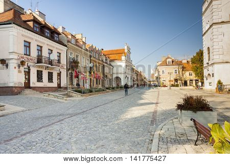 SANDOMIERZ POLAND - OCTOBER 16:Part of old town on october 16 2015 in Sandomierz. Sandomierz is among oldest towns in Poland dating back to at least 1227.