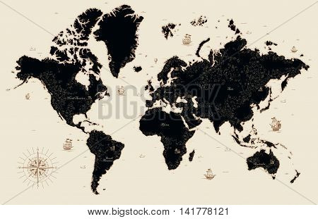 Мector illustration Decorative old map of the world
