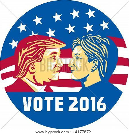 August 8, 2016: Illustration showing Republican Donald Trump versus Democrat Hillary Clinto face-off for American president with words Vote 2016 with stars and stripes set inside circle done in stencil retro art style.