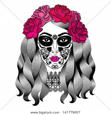 Beautiful woman with sugar skull makeup. Mexican Catrina skull makeup. Senorita in Day of the Dead. Girl with rose in hair. Vector illustration