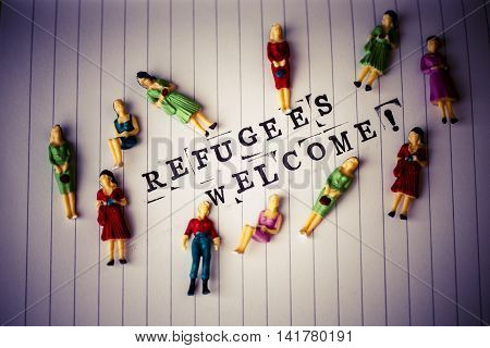 Refugees Welcome Text On Paper