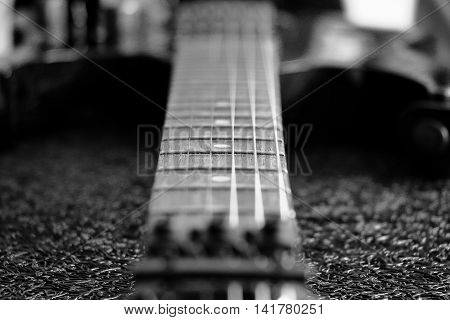 black and white vintage electric guitar closeup
