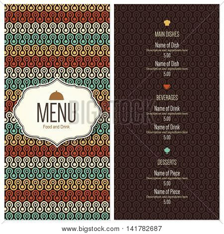 Restaurant menu design. Vector brochure template for cafe, coffee house, restaurant, bar. Food and drinks logotype symbol design. Vintage background