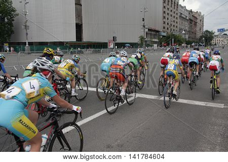 Kiev Ukraine - May 28 2016: Girls - participants cycling Race Horizon Park in 2016 led the race on Khreschatyk Street
