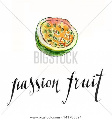Passion fruit hand drawn - watercolor Illustration