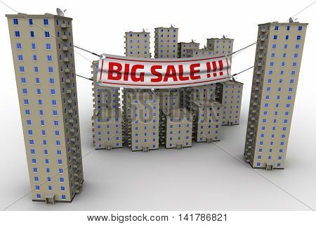 Big sale of apartments. Multi-storey residential buildings on a white surface and advertising banner with inscriptions