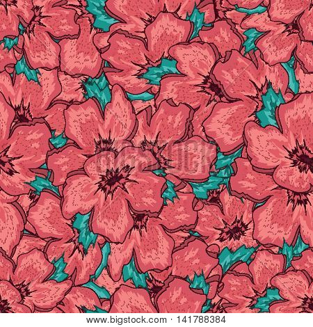 Seamless Floral Ornamental Pattern With Pink Flowers