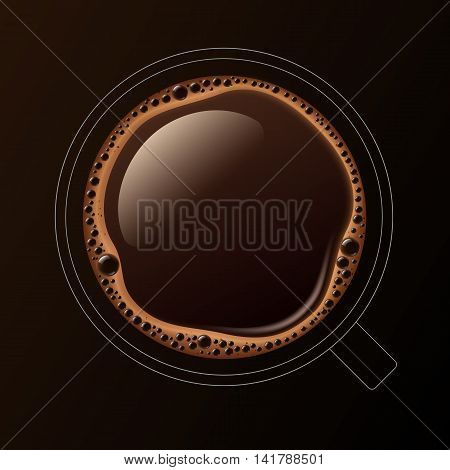 Vector Outline Coffee Cup Mug with Crema Foam Bubbles Top View Isolated On Background
