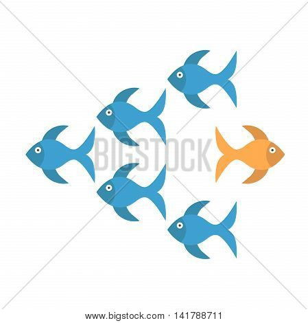 Bold unique gold fish standing out from crowd of many blue ones and moving in opposite way. Being different courage and risk concept. Flat design. Vector illustration. EPS 8 no transparency