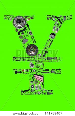 Japan yen money with auto parts for car. Spare parts for car for shop, aftermarket OEM. Yen icon. Many auto parts isolated in money japan yen on green screen, chroma key