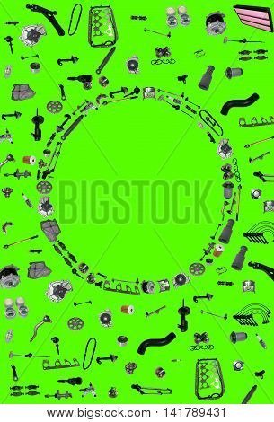 Spare parts car on the green background. Many auto spare parts isolated. Spare parts for shop, aftermarket. Background with spare parts. New spare parts for shop isolated on green screen, chroma key